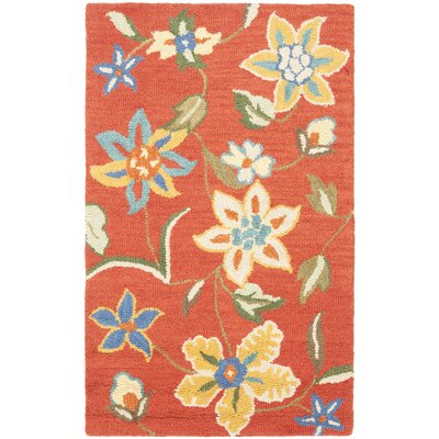 Canon Hand-Hooked Rust Area Rug Rug Size: 3 x 5
