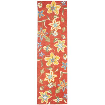 Canon Hand-Hooked Rust Area Rug Rug Size: Runner 23 x 8