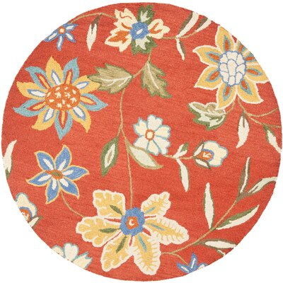 Canon Hand-Hooked Rust Area Rug Rug Size: Round 6