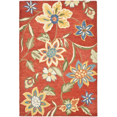 Canon Hand-Hooked Rust Area Rug Rug Size: 8 x 10