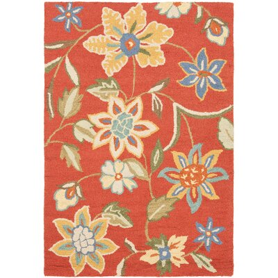 Canon Hand-Hooked Rust Area Rug Rug Size: 4 x 6