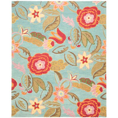 Canon Hand-Hooked Blue Area Rug Rug Size: 89 x 12