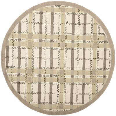 Colorweave Plaid Hand-Tufted Sharkey Gray Area Rug Rug Size: Round 6