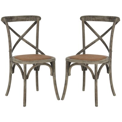 Essie Cross Back Side Chair Finish: Distressed Colonial Walnut