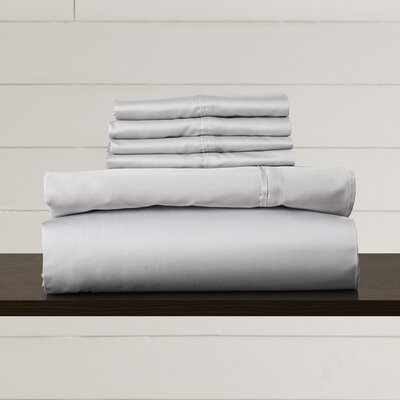Hiram 600 Thread Count 6-Piece Egyptian Quality Cotton Sateen Deep Pocket Sheet Set Size: King, Color: Steel