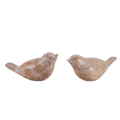 2 Piece Carved Albasia Wood Birds Sculpture Set