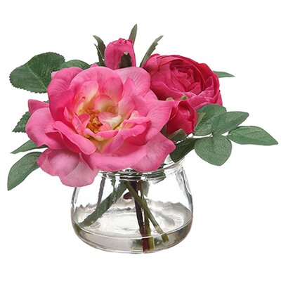 Edge Hill Silk Roses in Glass Vase Color: Fuchsia / Two Tone