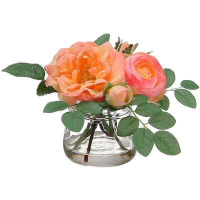 Edge Hill Silk Roses in Glass Vase Color: Coral / Peach