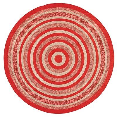 Gertrude Red/Beige Area Rug Rug Size: Round 8