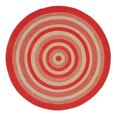 Gertrude Red/Beige Area Rug Rug Size: Round 6