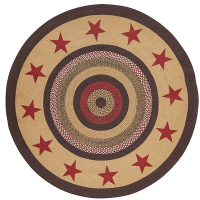 Juliana Brown/Red Area Rug Rug Size: Round 8