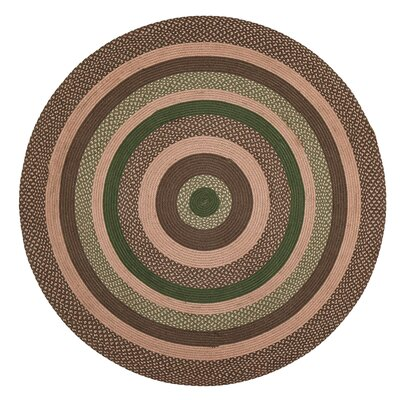 Vernonburg Brown/Green Area Rug Rug Size: Round 6