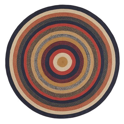 Lilian Blue/Red Area Rug Rug Size: Round 8