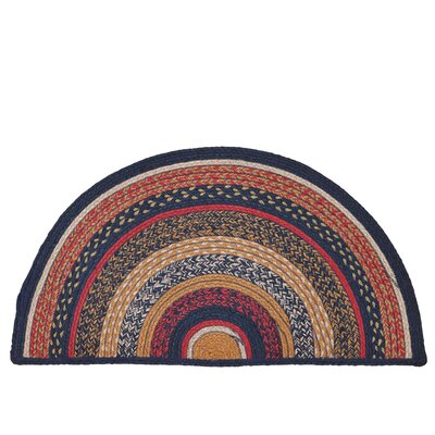 Lilian Blue/Red Area Rug Rug Size: Half Circle 14 x 29