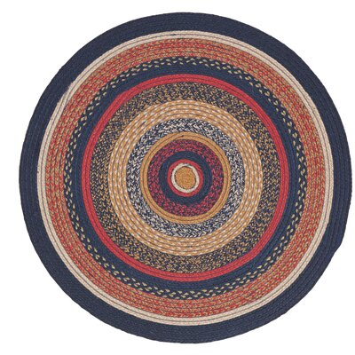 Lilian Blue/Red Area Rug Rug Size: Round 3
