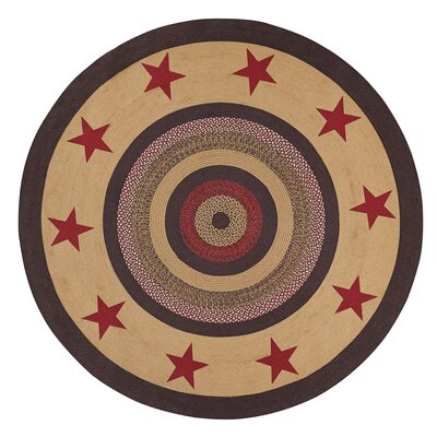 Juliana Brown/Red Area Rug Rug Size: Round 6