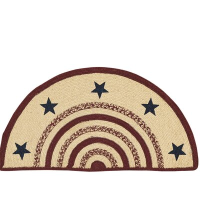 Brunswick Beige/Red Area Rug Rug Size: Half Circle 14 x 29