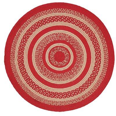 Gertrude Red/Beige Area Rug Rug Size: Round 3'