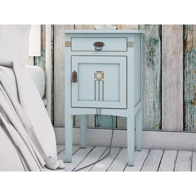 Corrie 1 Drawer Nightstand Color: Aqua
