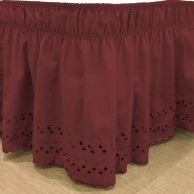 Karlisa Wrap Around Eyelet Ruffled 140 Thread Count Bed Skirt Color: Burgundy, Size: 60 W X 80