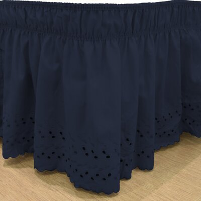 Karlisa Wrap Around Eyelet Ruffled 140 Thread Count Bed Skirt Color: Navy, Size: 39 W X 75