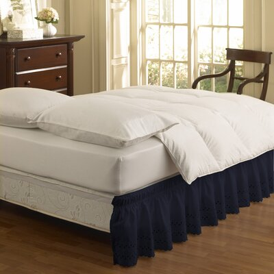 Karlisa Wrap Around Eyelet Ruffled 140 Thread Count Bed Skirt Size: 60 W X 80, Color: Navy