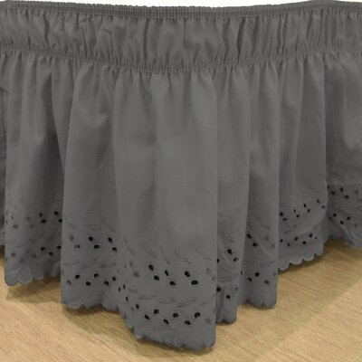 Karlisa Wrap Around Eyelet Ruffled 140 Thread Count Bed Skirt Color: Charcoal, Size: 60 W X 80
