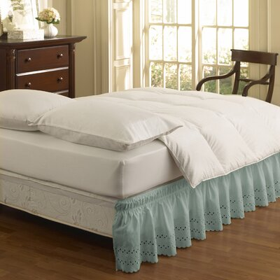 Karlisa Wrap Around Eyelet Ruffled 140 Thread Count Bed Skirt Size: 39 W X 75, Color: Light Blue