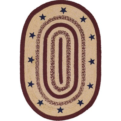 Brunswick Beige/Red Area Rug Rug Size: Oval 1'8