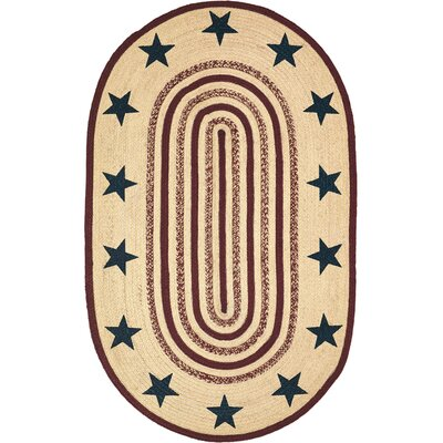 Brunswick Beige/Red Area Rug Rug Size: Oval 3 x 5