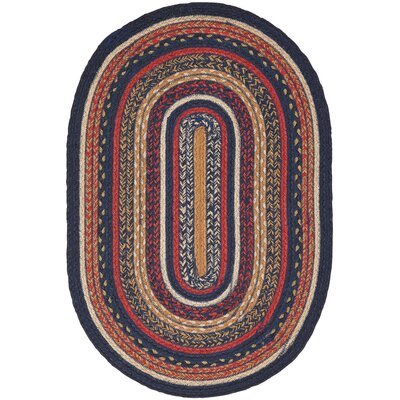 Lilian Blue/Red Area Rug Rug Size: Oval 18 x 26