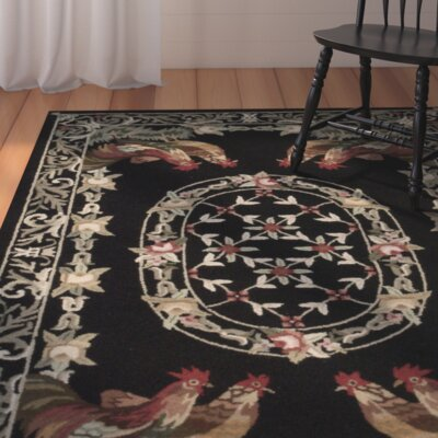 Rebekah Hand-Hooked Black/Gray Area Rug