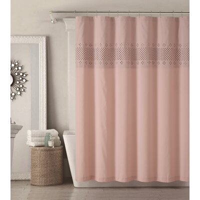 Odell Shower Curtain Color: Coral