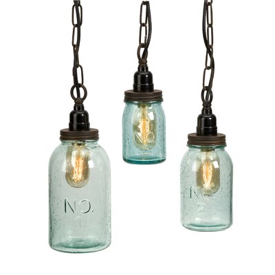 Norgate 3 Piece Mason Jar Mini Pendant Set