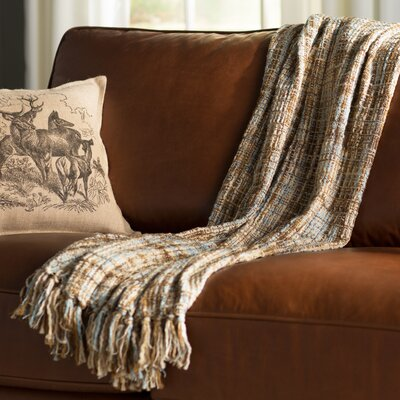 Fairbury Novelty Throw Blanket Color: Charcoal, Gold, White, Gray, Brown