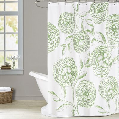 Chickamauga Antique Flowers Print Shower Curtain Color: Green