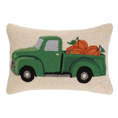 Fall Truck With Pumpkin Wool Lumbar Pillow