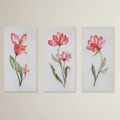 Springtime Promise Floral Art Grace Feyock 3 Piece Painting Print on Canvas Set