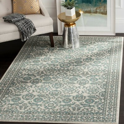 Ruthie Ivory/Gray Area Rug Rug Size: Rectangle 67 x 9