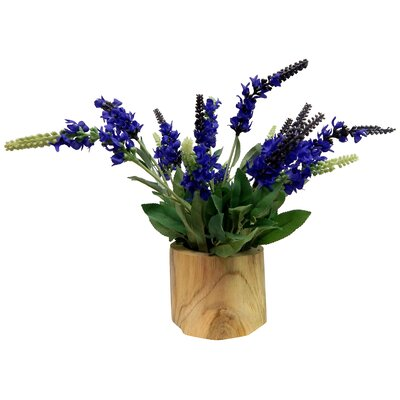Lavender Arrangement in Wooden Vase
