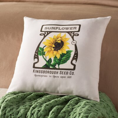 Swan Valley Sunflower Floral Outdoor Throw Pillow Size: 18 H x 18 W, Color: Cream