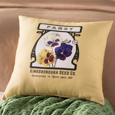 Swan Valley Pansy Floral Outdoor Throw Pillow Size: 18 H x 18 W, Color: Cream