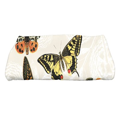 Swan Valley Antique Butterflies and Flowers Wildlife Bath Towel Color: Cream