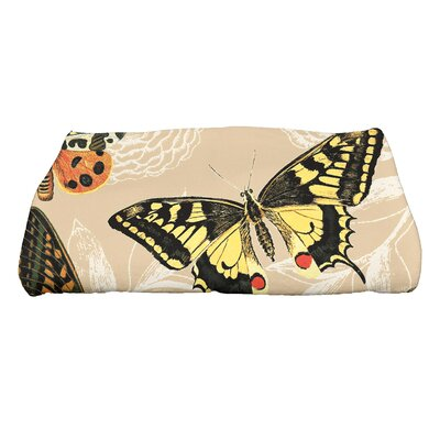 Swan Valley Antique Butterflies and Flowers Wildlife Bath Towel Color: Beige/Taupe