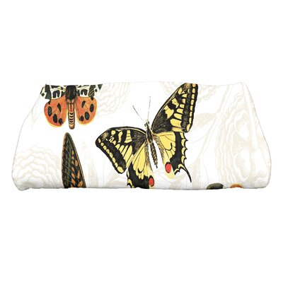 Swan Valley Antique Butterflies and Flowers Wildlife Bath Towel Color: White