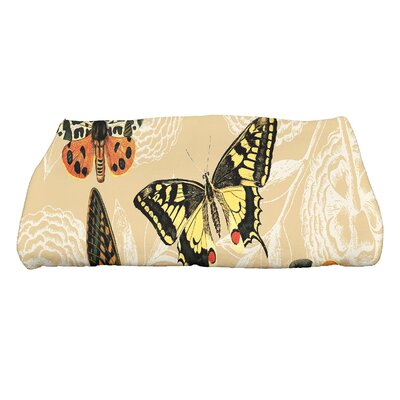 Swan Valley Antique Butterflies and Flowers Wildlife Bath Towel Color: Gold
