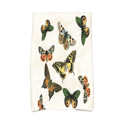Swan Valley Antique Butterflies and Flowers Print Hand Towel Color: Cream