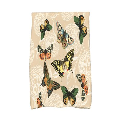 Swan Valley Antique Butterflies and Flowers Print Hand Towel Color: Beige/Taupe