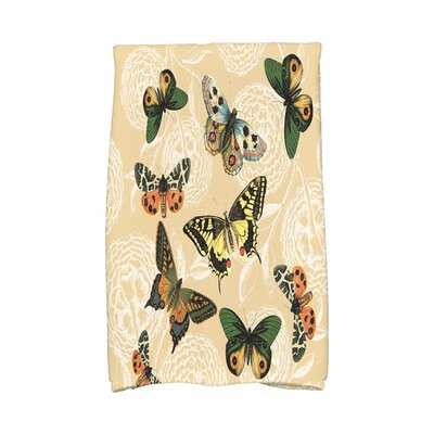 Swan Valley Antique Butterflies and Flowers Print Hand Towel Color: Gold