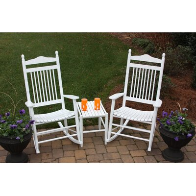 3 Piece Adult Rocking Chair & Table Set Finish: White